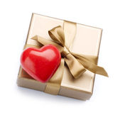 Valentine Gift and Heart over white — Stock Photo