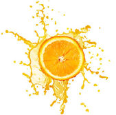 Orange juice splash isolated on white — Stok fotoğraf