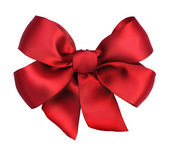 Red satin gift bow. Ribbon. Isolated on white — Stock Photo