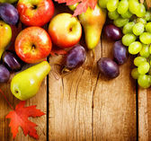 Organic Fruits over wood background. Autumn harvest — Stock Photo