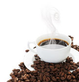 Coffee border. Isolated on white — Stock Photo