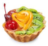 Fruit Cake over white. Healthy dessert — Stock Photo