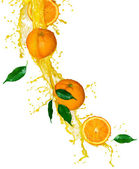 Orange fruits and Splashing Juice over white — Stock Photo