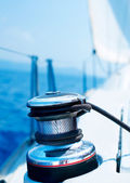 Sailboat Winch and Rope Yacht detail. Yachting. — Stock Photo