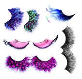 Valse wimpers ingesteld op wit. make-up concept — Stockfoto