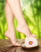 Spa. schöne frau beine über natur hintergrund — Stockfoto