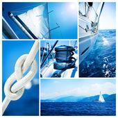 Jacht collage.sailboat.yachting koncepcja — Zdjęcie stockowe