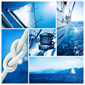 Yacht collage.sailboat.yachting koncept — Stockfoto