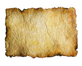 Papel velho com bordas queimadas sobre branco — Foto Stock