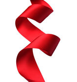 Red satin Ribbon. Isolated on white — Stock Photo