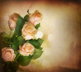 Beautiful Pink Roses. Vintage Styled. Sepia Toned — Stock Photo