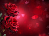 Valentine or Wedding Card. Roses and Hearts — Foto de Stock
