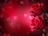 Valentine or Wedding Card. Roses and Hearts — Stok fotoğraf