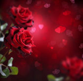 Valentine or Wedding Card. Roses and Hearts — Stock Photo