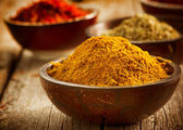Spices Saffron, turmeric, curry — Stock Photo