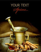 Spices And Mortar Isolated On Black. Vintage Styled — Stock Photo