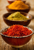Spices Saffron, turmeric, curry — 图库照片