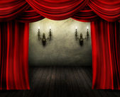 Theater Stage And Red Curtain — Stock Photo