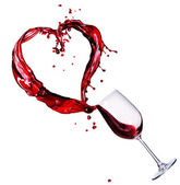 Glass of Red Wine Abstract Heart Splash — Stock Photo