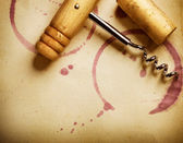 Wine Background. Wine Cork, Corkscrew And Red Wine Stains On The — Stock Photo