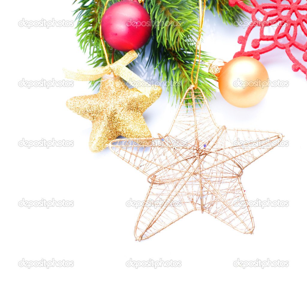 Christmas Decorations border isolated on white — Stock Photo #10681304