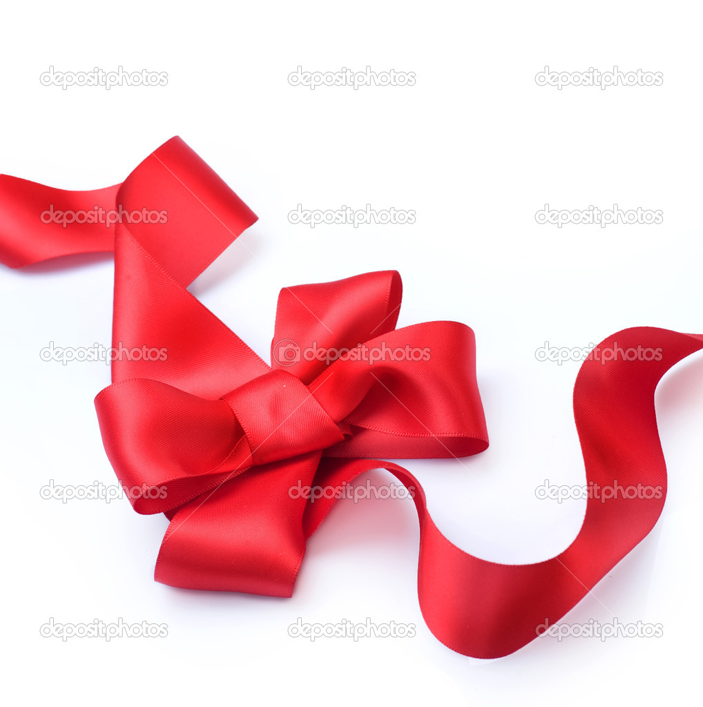 Red satin gift bow. Ribbon. Isolated on white  Foto Stock #10681977