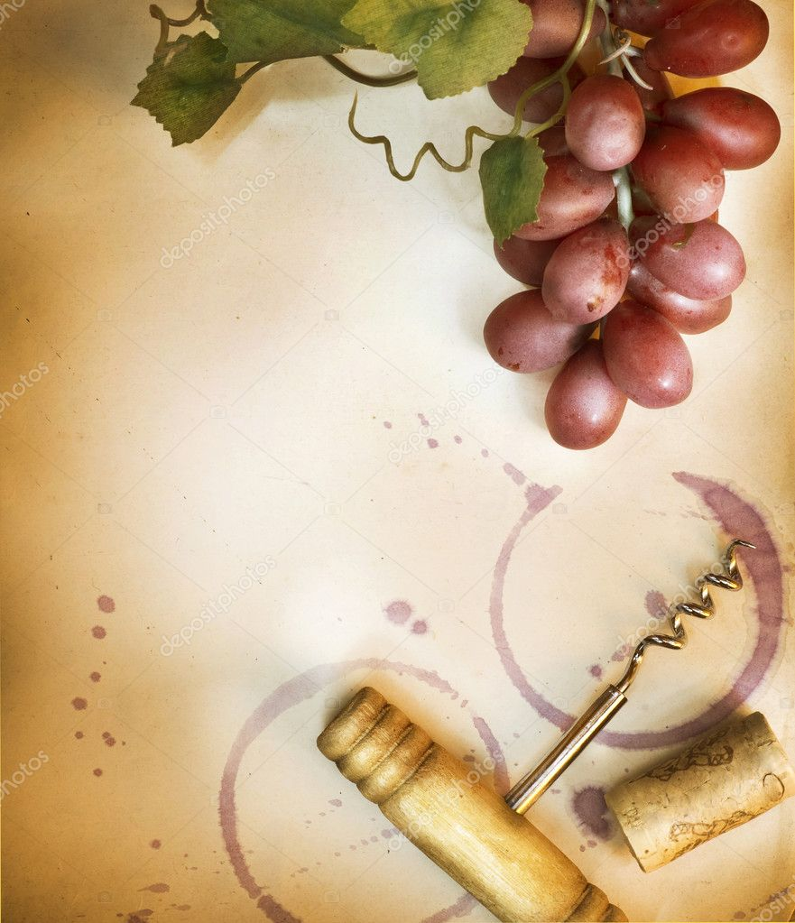 Wine Border Design Over Vintage Paper Background — Stock Photo #10683280