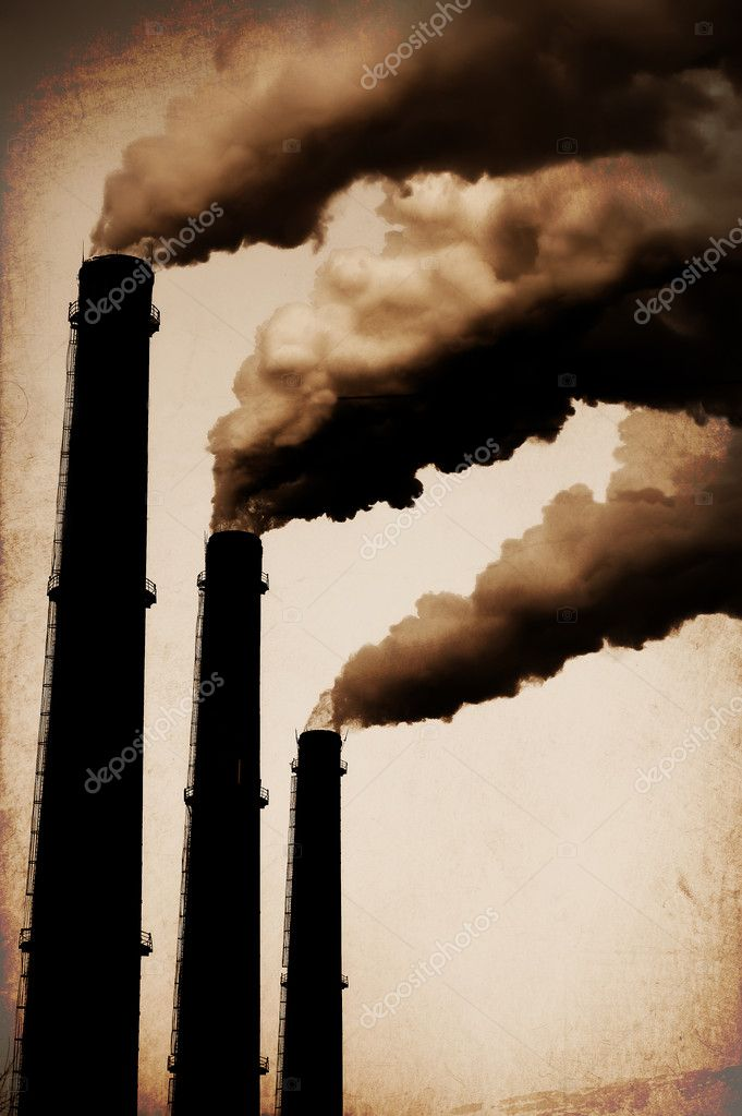 Three Smoke Stacks Polluting the Air Horizontal. Vintage Styled — Stock Photo #10684123