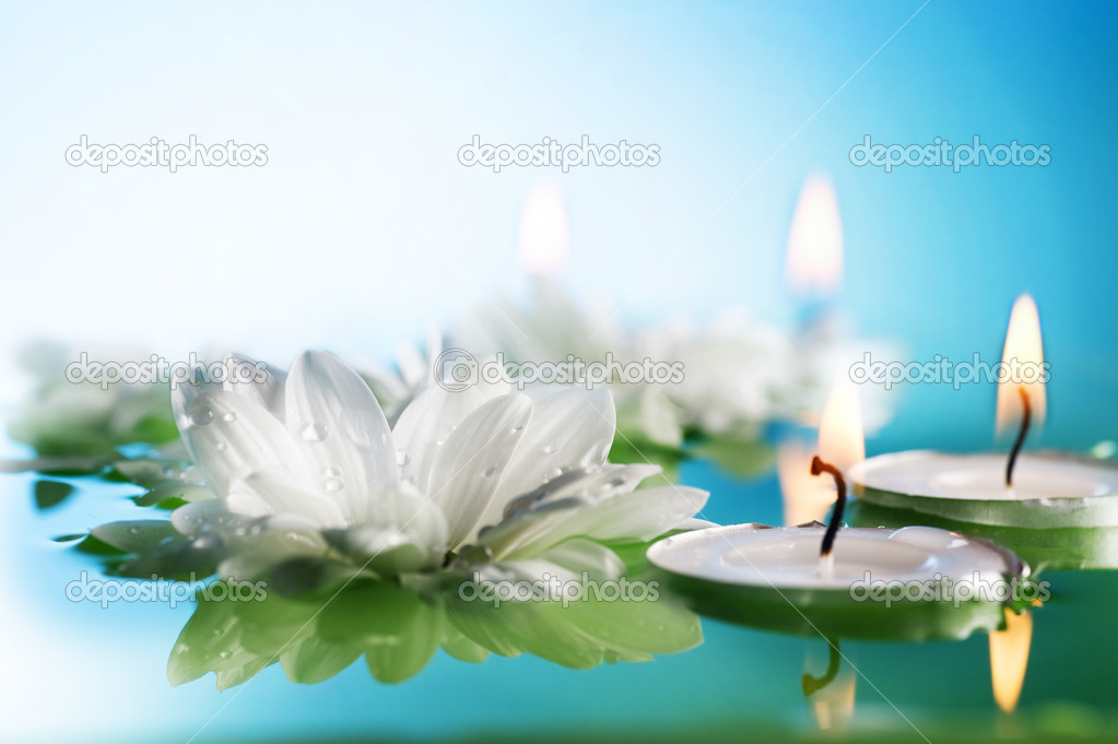 Burning Floating Candles And Flowers  Stock Photo #10685260
