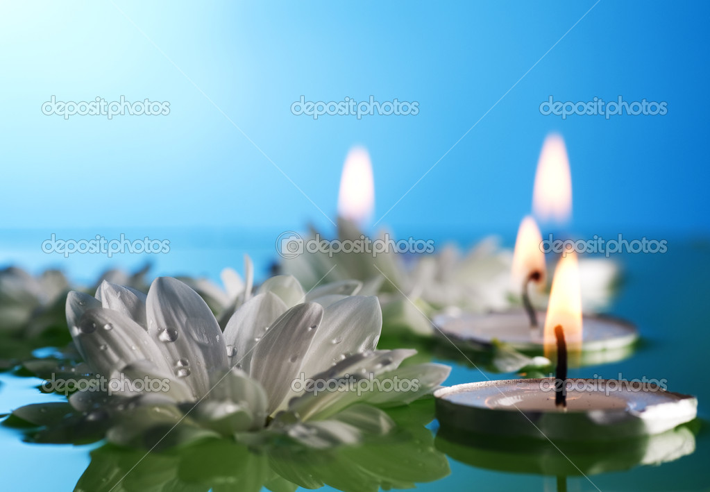 Burning Floating Candles And Flowers  Stock Photo #10685262