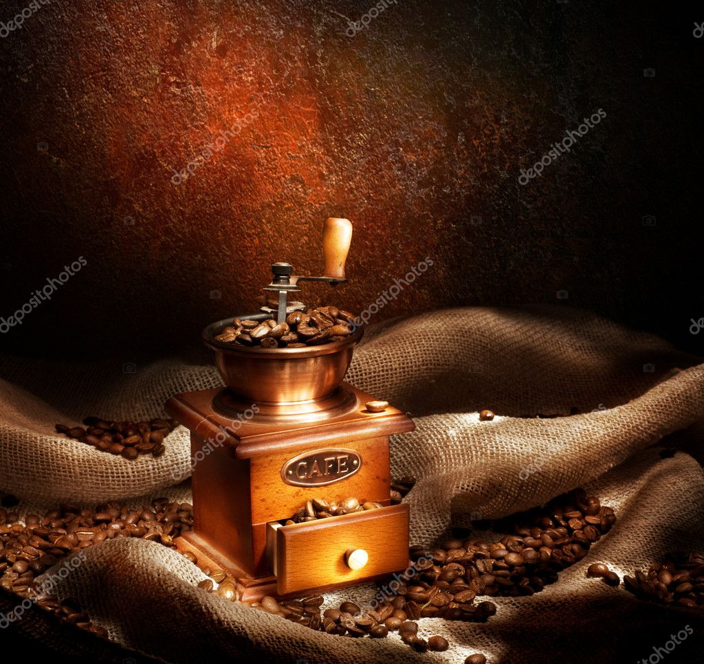 Coffee Grinder And Beans. Vintage Styled  Stock Photo #10686908