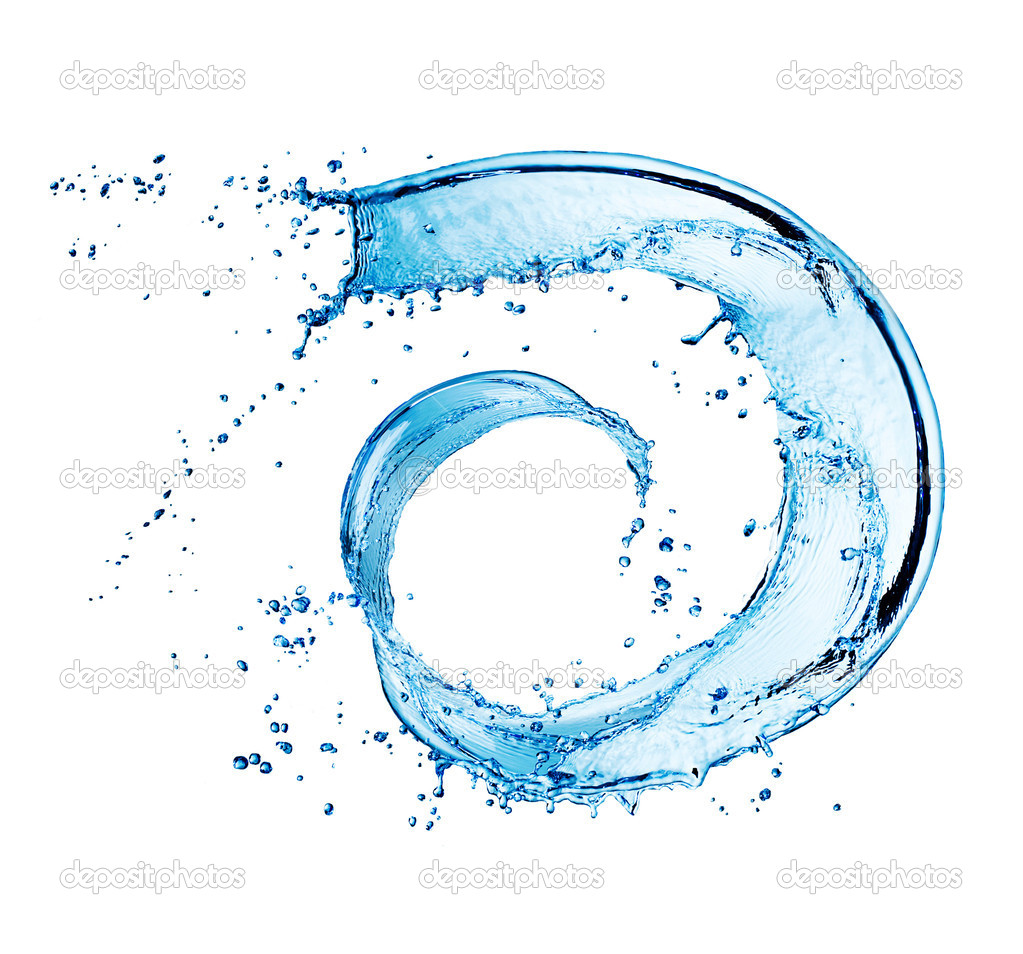 Water Abstract Round Splash. Swirl isolated on white — Stock Photo #10688193