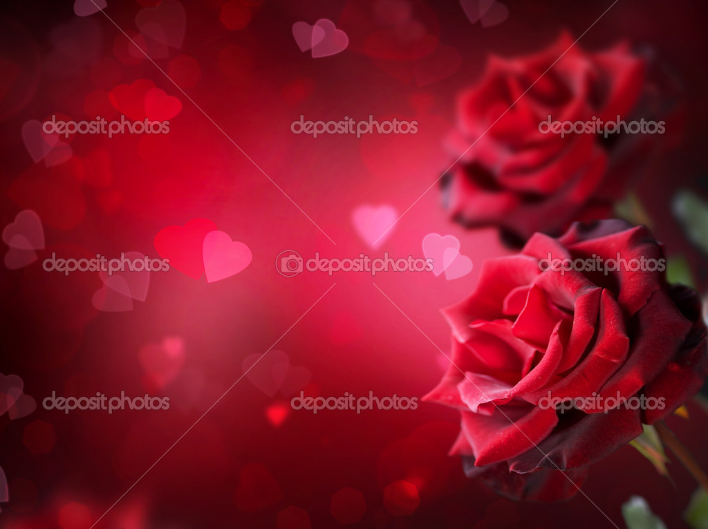 Valentine or Wedding Card. Roses and Hearts  Stock Photo #10688257