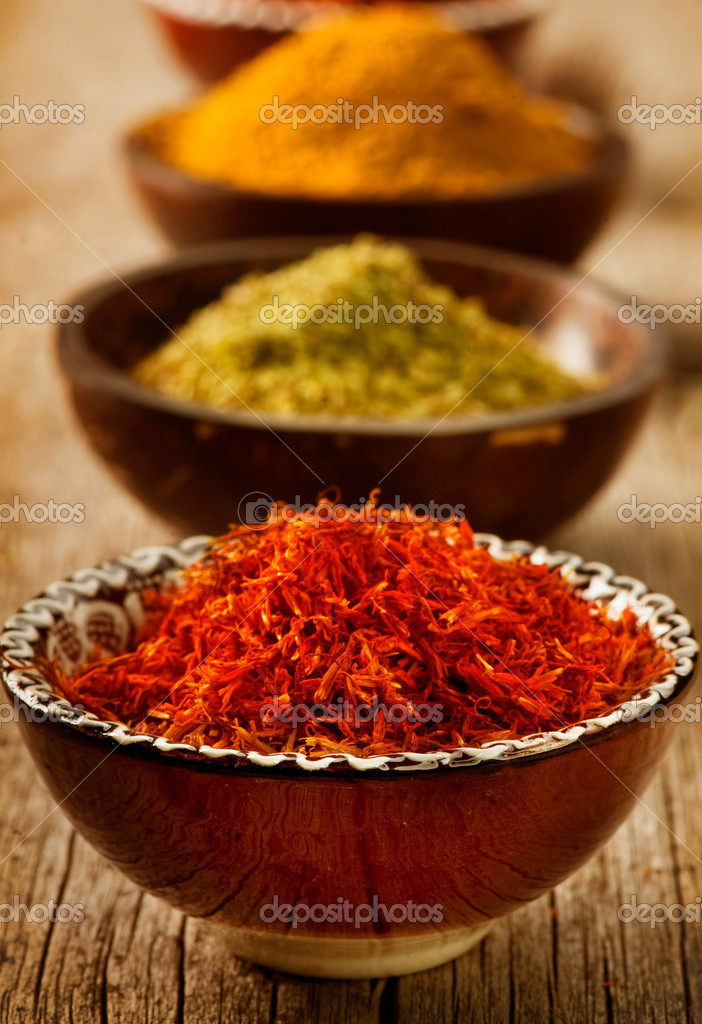Spices Saffron, turmeric, curry — Stock Photo #10688630
