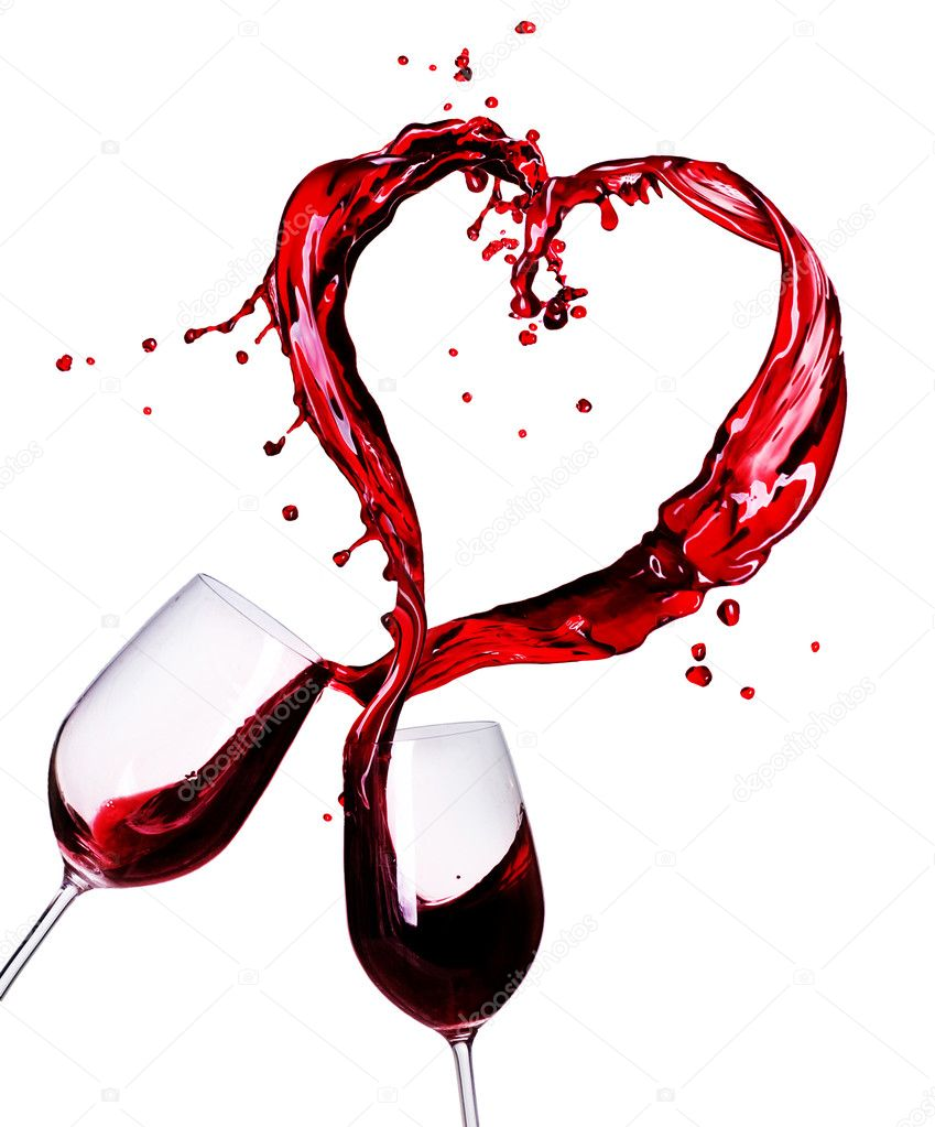 Two Glasses of Red Wine Abstract Heart Splash  Stock Photo #10688975