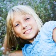 Beautiful Happy Little Girl Outdoor — Stockfoto