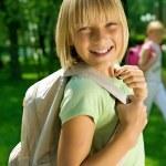 Happy Schoolgirl Outdoor. Back To School — Stock Photo #10746736