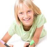 Szczęśliwa dziewczynka rysunek — Zdjęcie stockowe