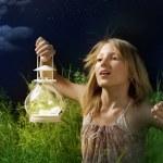 Little Girl Running On A Green Field. Mystical Night — Stock Photo