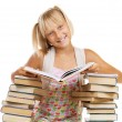 School Girl Reading The Book — Stock Photo