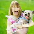 Funny Girl And Dog — Stockfoto