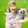 Funny Girl And Dog - Stock Photo