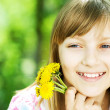 Foto Stock: Smiling Little Girl Outdoor