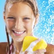 Teenage Girl Taking a Shower. Bathing.Washing — Stock Photo #10746907