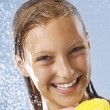 Happy Teen Girl Taking Shower. Bath. Healthy Skin.Washing — Stock Photo