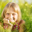 Beautiful Summer Portrait Of Little Girl In The Grass — Stock Photo