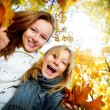 Beautiful Teenage Girls Having Fun in Autumn Park .Outdoor — Stock Photo