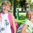 Happy Schoolgirls Outdoor. Back To School — Stock Photo