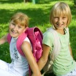 Happy Schoolgirls In The Park — Stock Photo