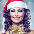 Christmas Woman with Gift box. — Stok fotoğraf